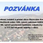 Pozvánka na setkání rodáků a přátel obce Moravské Knínice