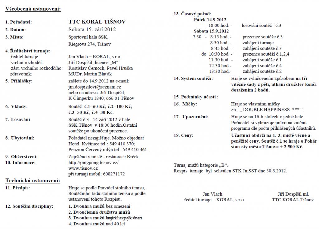 Propozice turnaje 2012 ve stolním tenise Tišnov