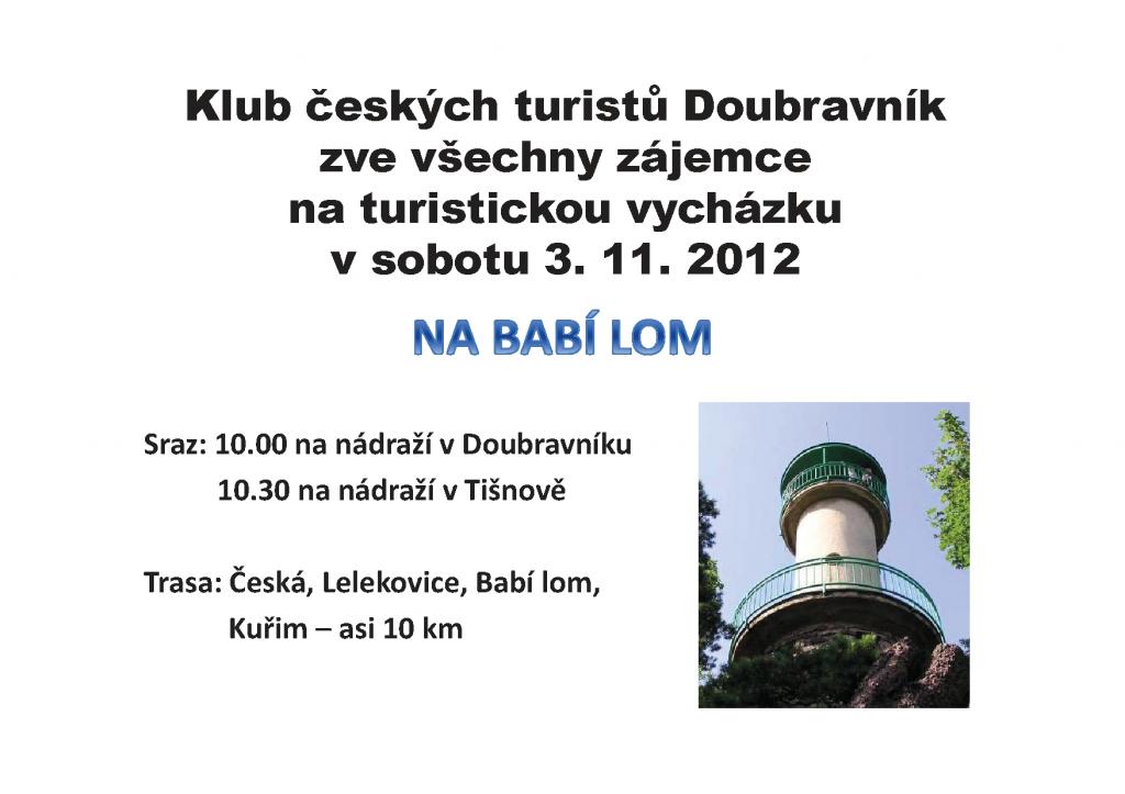 Výlet na Babí lom 2012 - KČT Doubravník