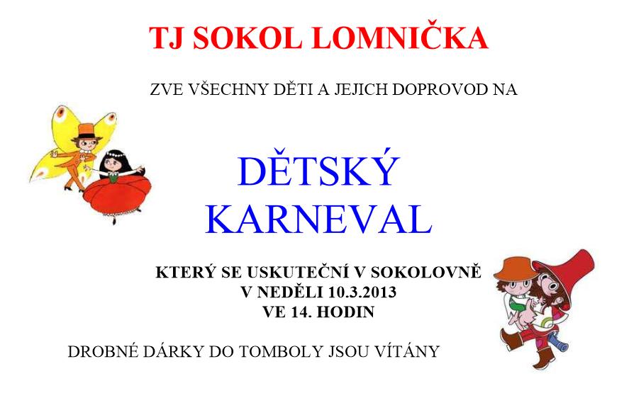 Karneval pro děti v Lomničce
