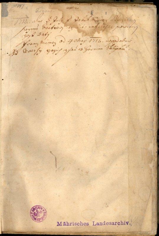 První strana pamětní knihy