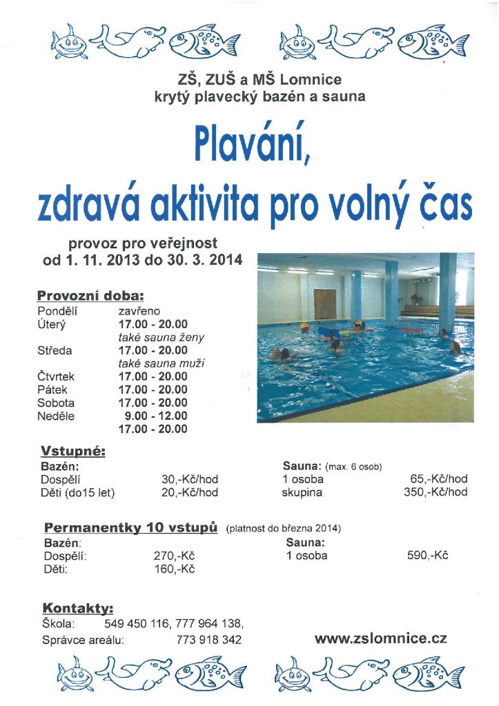 Otevíračka bazénu v Lomnici 2013